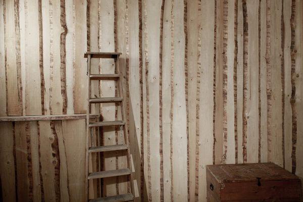 Leiter vor Holzwand